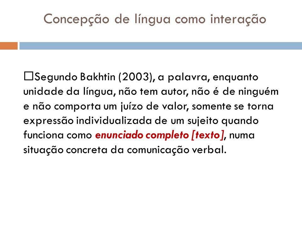 Concepção de língua como interação