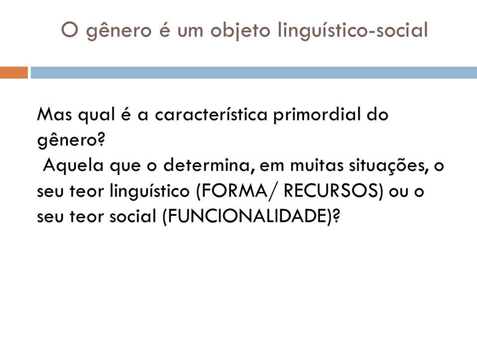 O gênero é um objeto linguístico-social