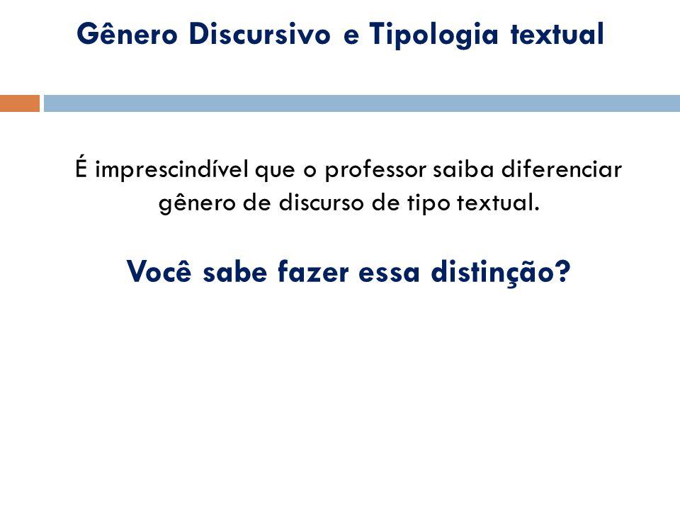 Gênero Discursivo e Tipologia textual Você sabe fazer essa distinção