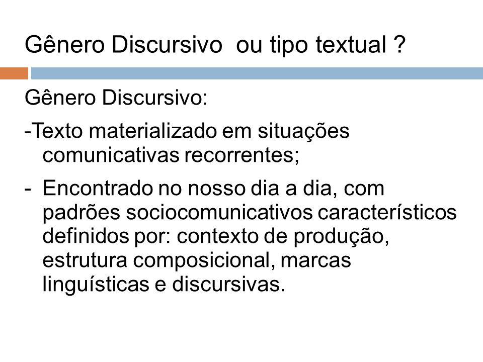 Gênero Discursivo ou tipo textual
