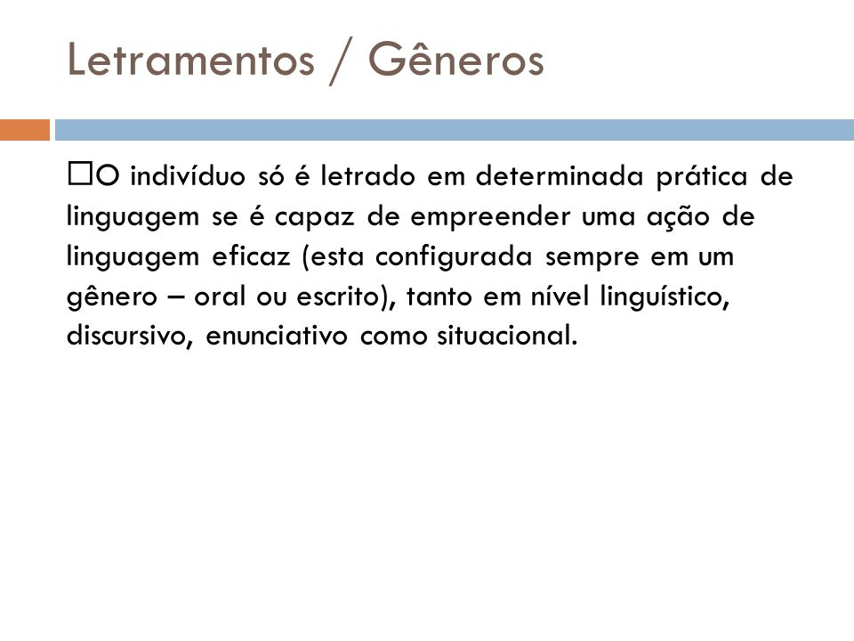 Letramentos / Gêneros
