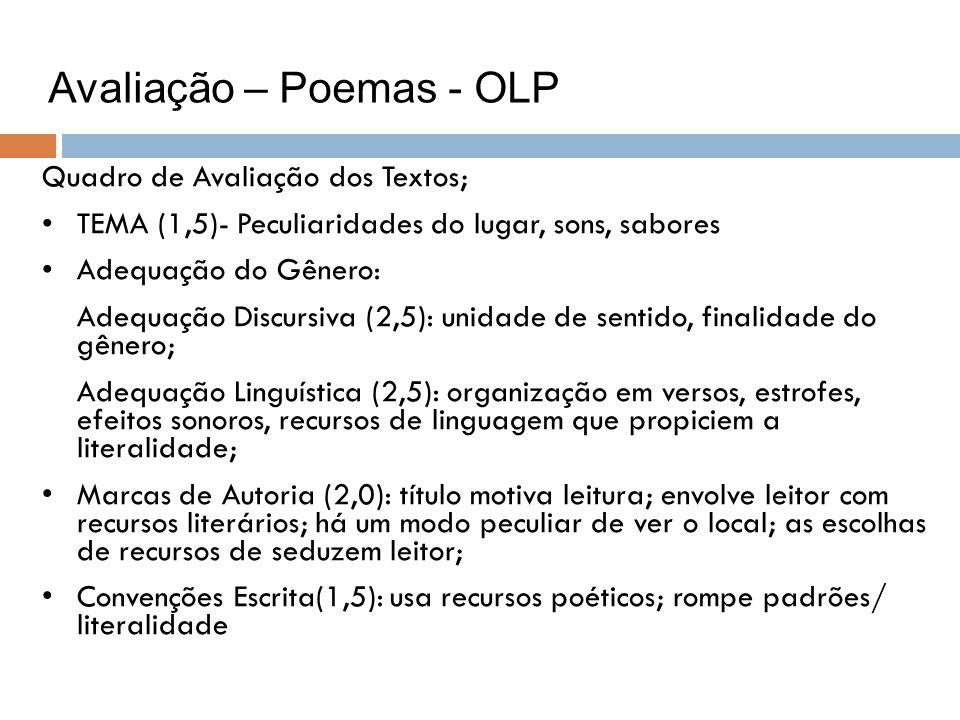 Avaliação – Poemas - OLP