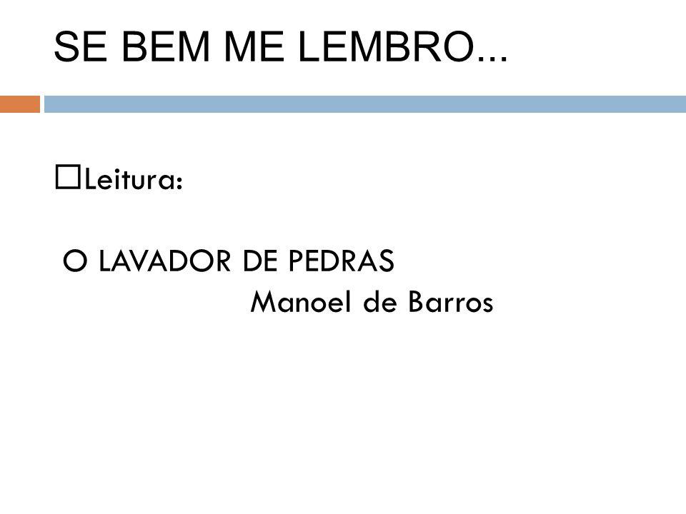 SE BEM ME LEMBRO... Leitura: O LAVADOR DE PEDRAS Manoel de Barros 99