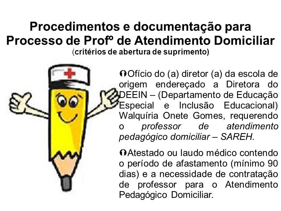 Procedimentos e documentação para Processo de Profº de Atendimento Domiciliar (critérios de abertura de suprimento)