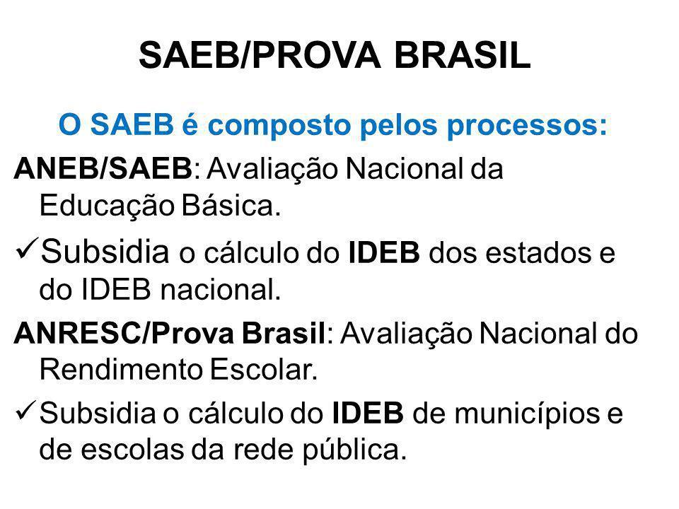 O SAEB é composto pelos processos: