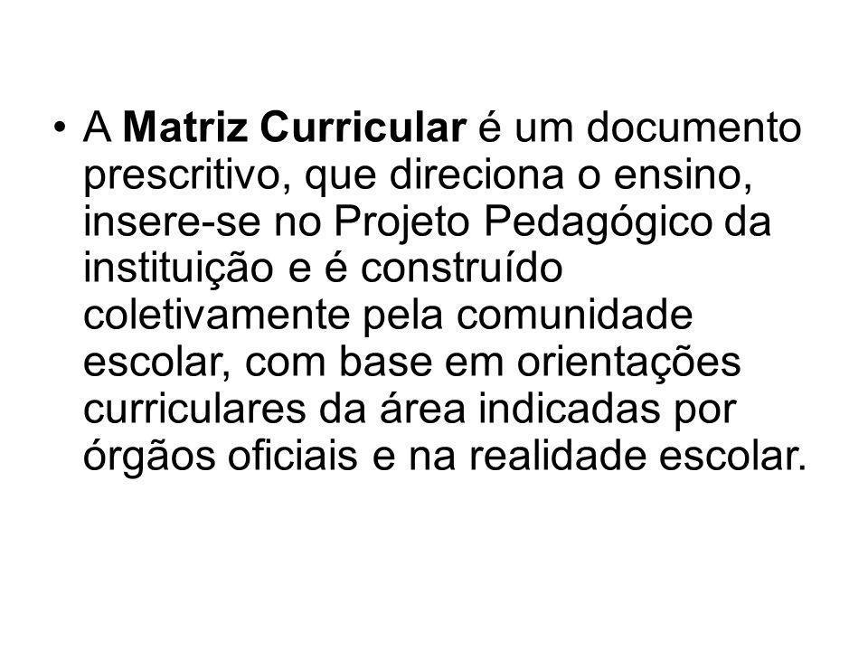 A Matriz Curricular é um documento prescritivo, que direciona o ensino, insere-se no Projeto Pedagógico da instituição e é construído coletivamente pela comunidade escolar, com base em orientações curriculares da área indicadas por órgãos oficiais e na realidade escolar.