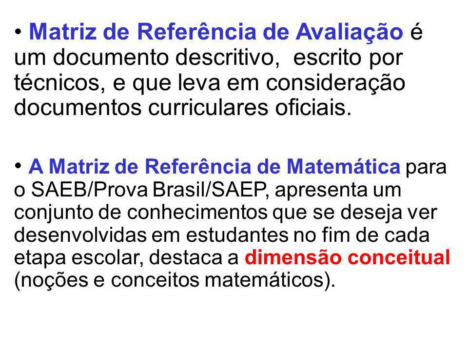 Matriz de Referência de Avaliação é um documento descritivo, escrito por técnicos, e que leva em consideração documentos curriculares oficiais.