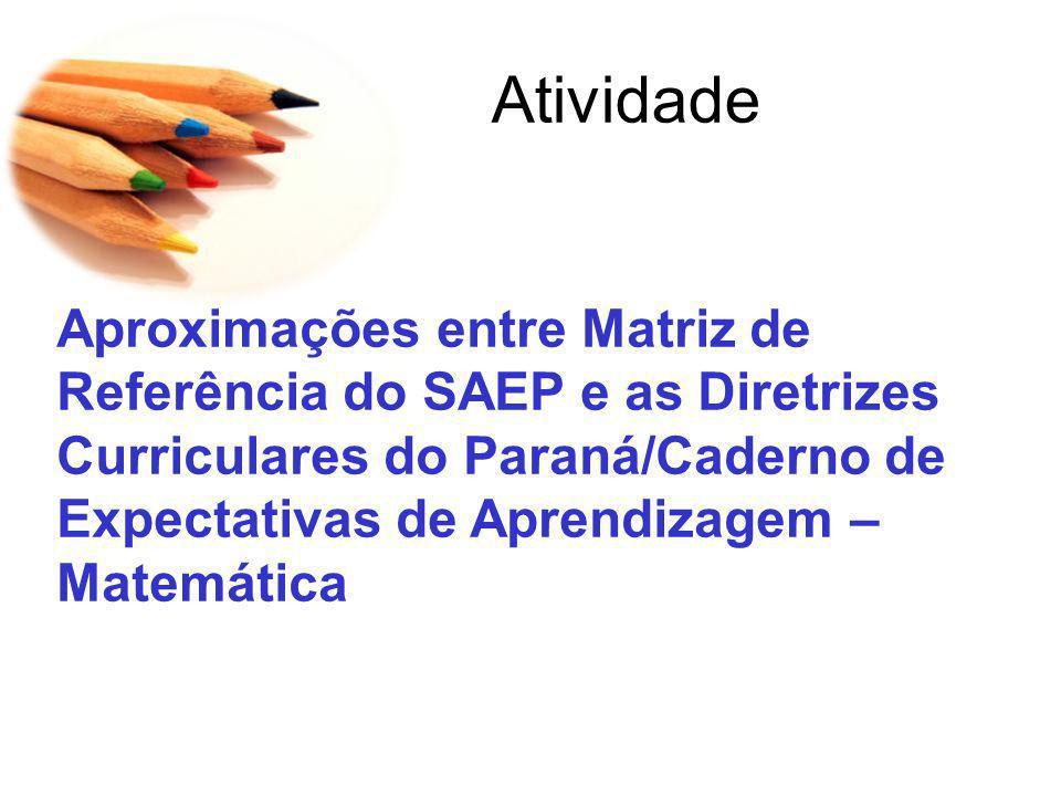 Atividade Aproximações entre Matriz de Referência do SAEP e as Diretrizes Curriculares do Paraná/Caderno de Expectativas de Aprendizagem – Matemática.