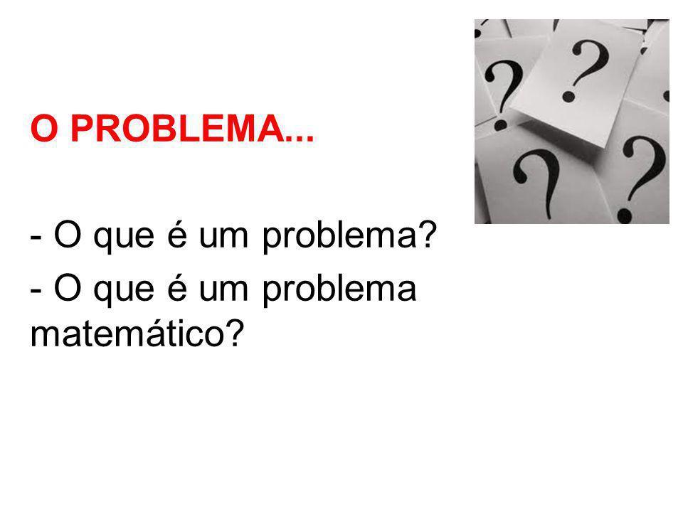 O PROBLEMA... - O que é um problema - O que é um problema matemático