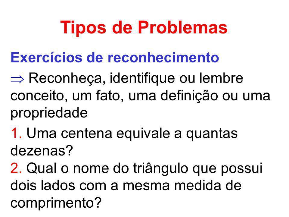 Tipos de Problemas Exercícios de reconhecimento