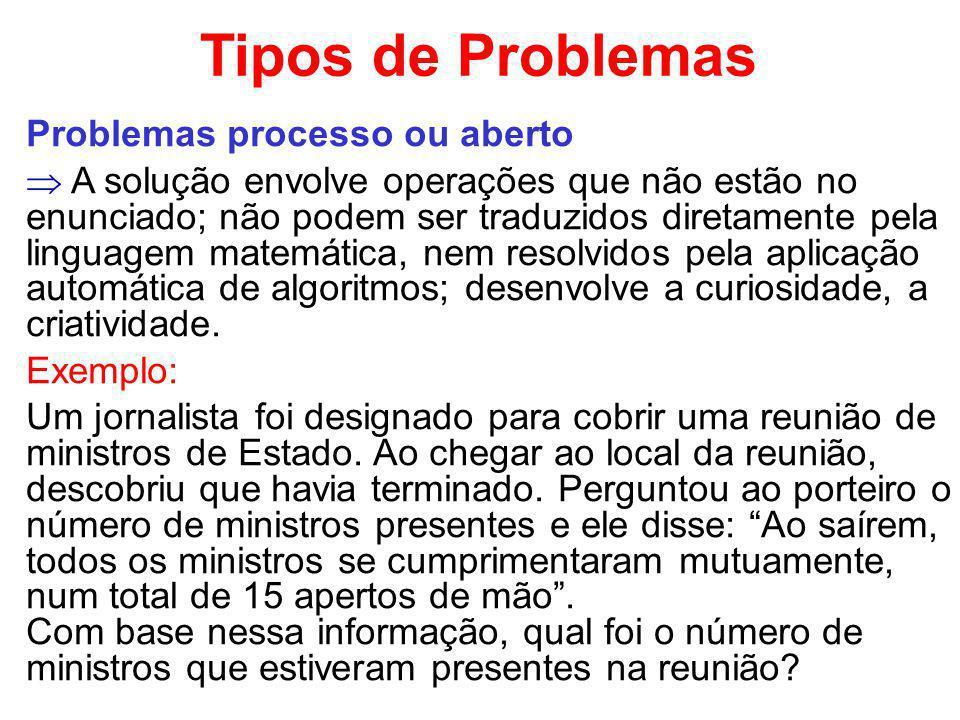 Tipos de Problemas Problemas processo ou aberto