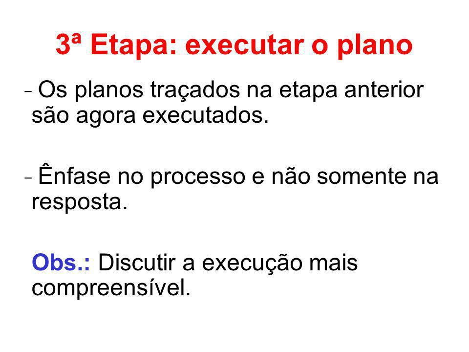 3ª Etapa: executar o plano