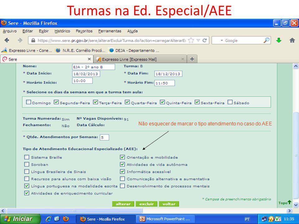 Turmas na Ed. Especial/AEE