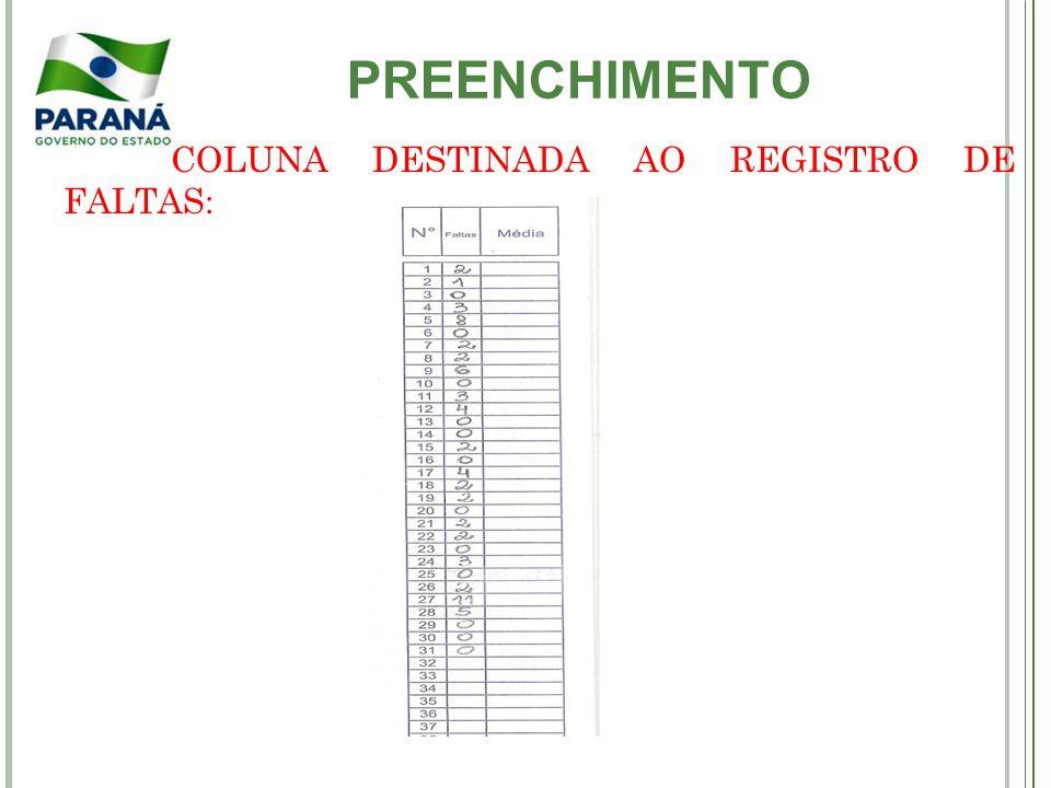 PREENCHIMENTO COLUNA DESTINADA AO REGISTRO DE FALTAS: