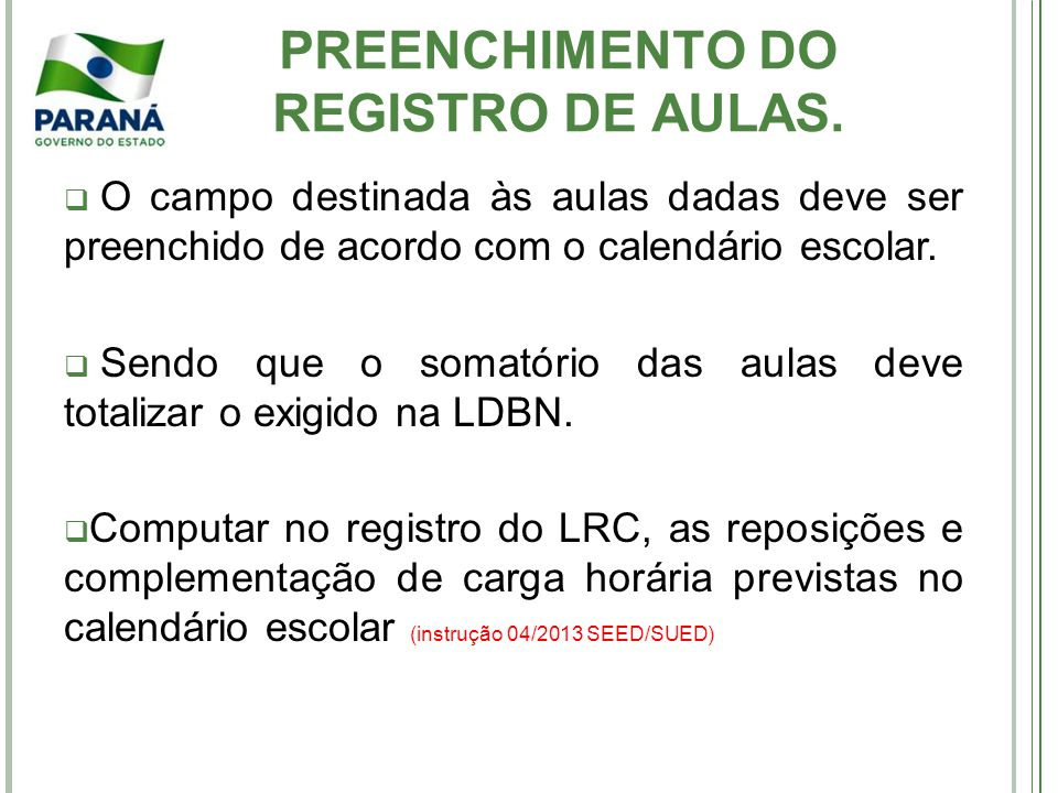 PREENCHIMENTO DO REGISTRO DE AULAS.