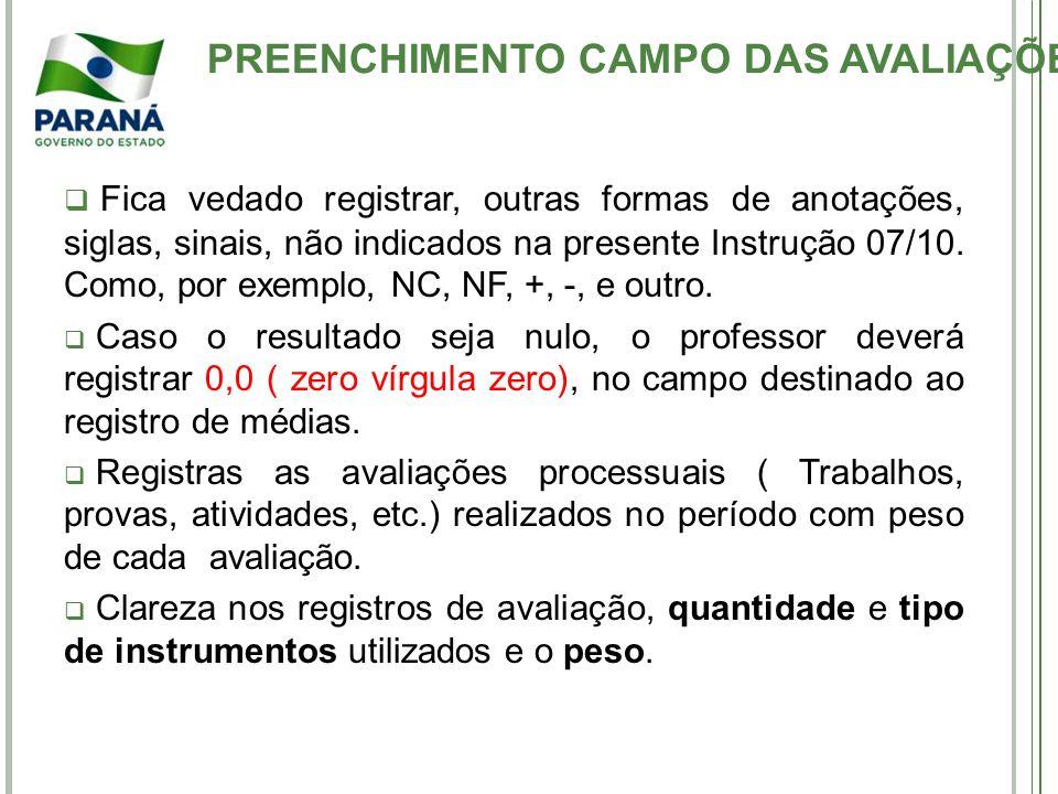 PREENCHIMENTO CAMPO DAS AVALIAÇÕES