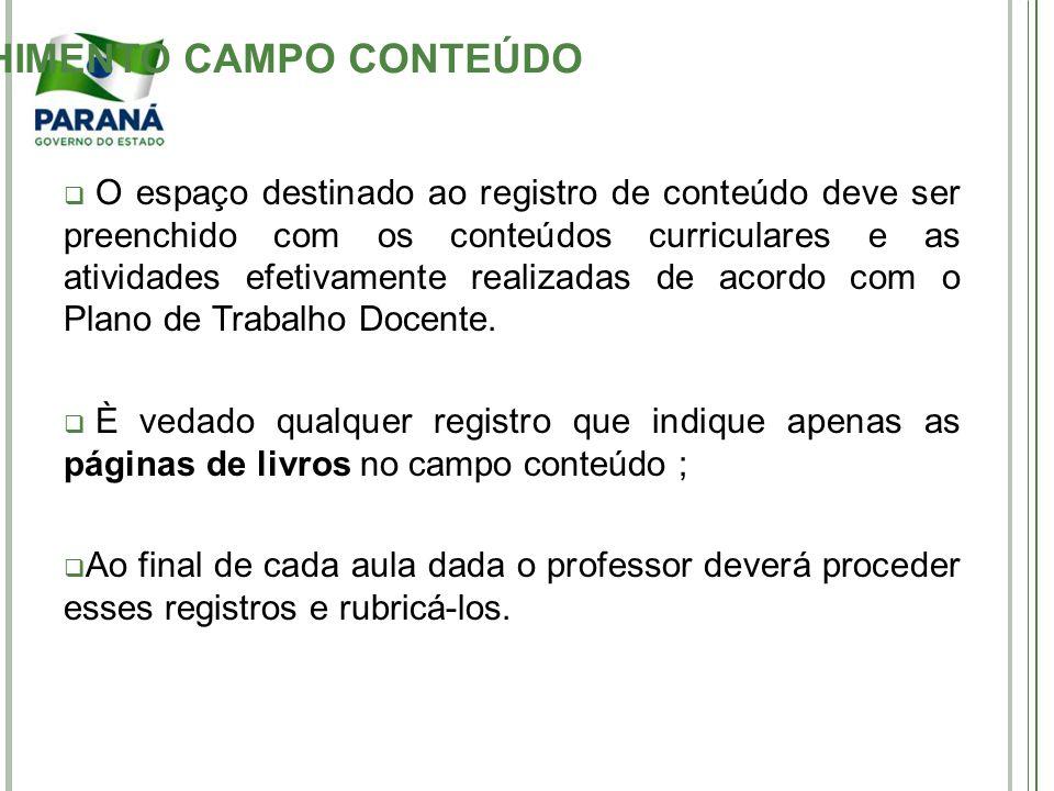 PREENCHIMENTO CAMPO CONTEÚDO