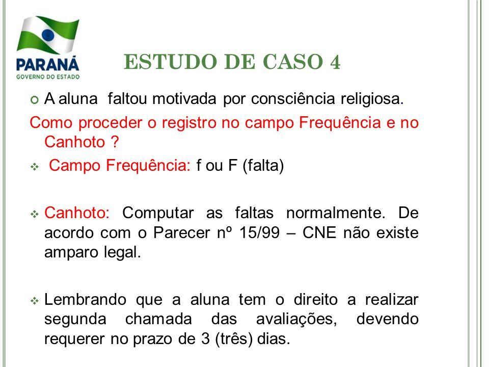 ESTUDO DE CASO 4 A aluna faltou motivada por consciência religiosa.