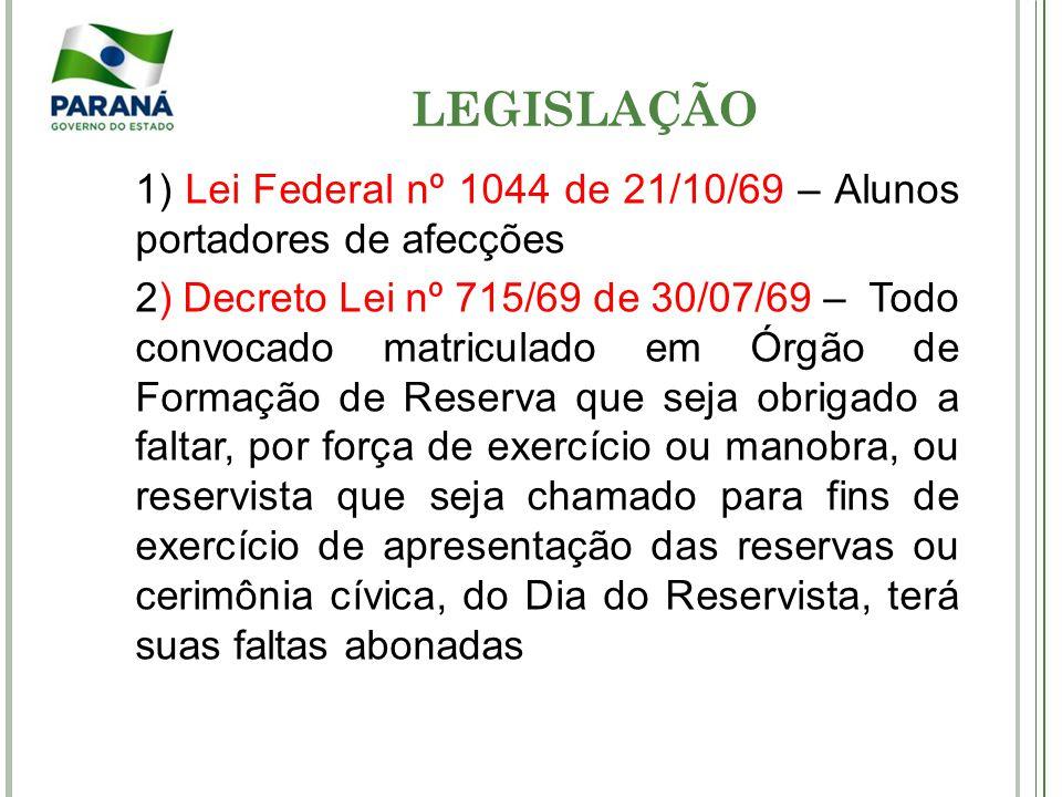 LEGISLAÇÃO 1) Lei Federal nº 1044 de 21/10/69 – Alunos portadores de afecções.