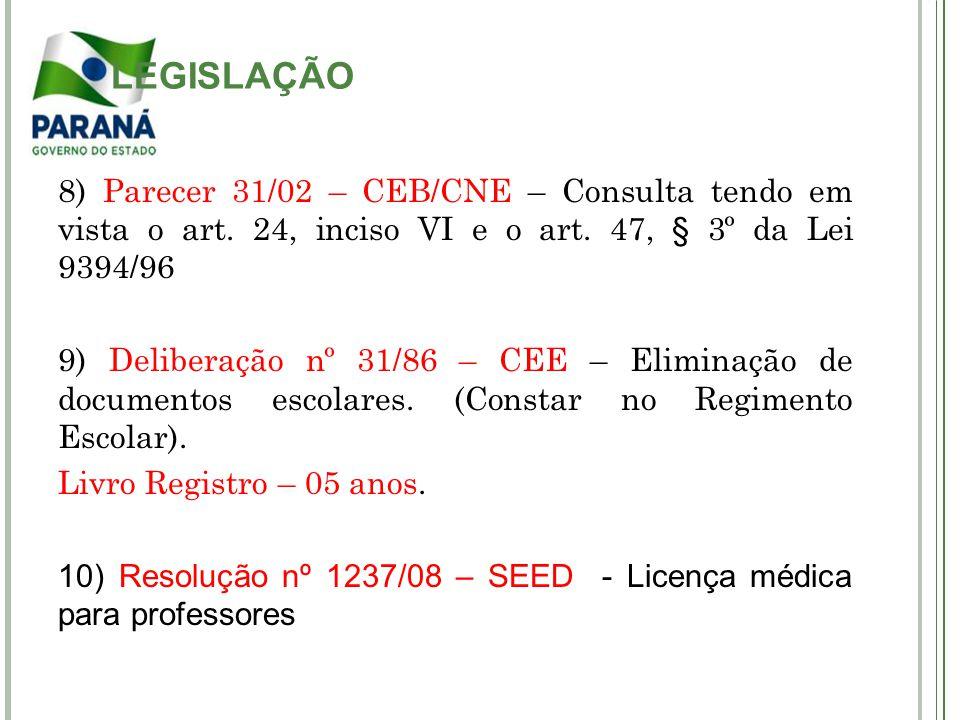 LEGISLAÇÃO 8) Parecer 31/02 – CEB/CNE – Consulta tendo em vista o art. 24, inciso VI e o art. 47, § 3º da Lei 9394/96.