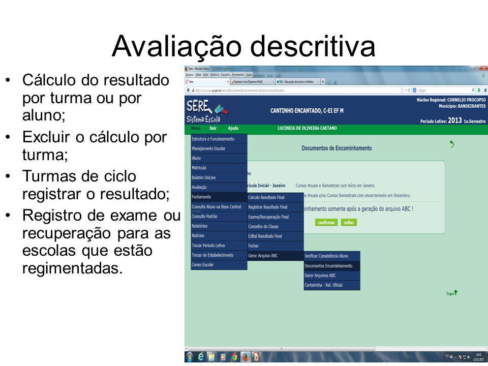 Avaliação descritiva Cálculo do resultado por turma ou por aluno;