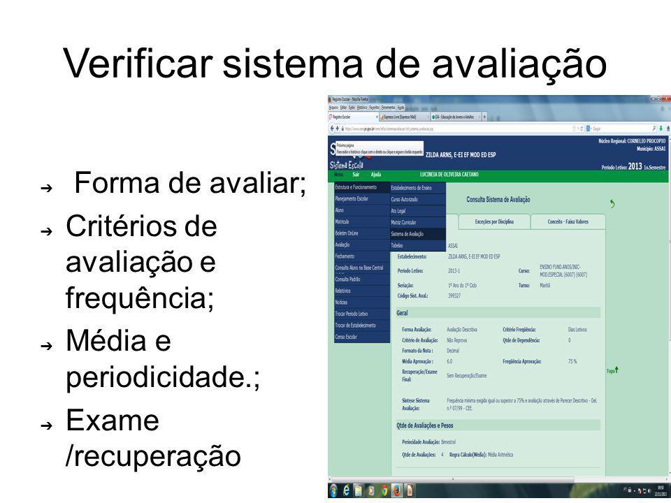 Verificar sistema de avaliação