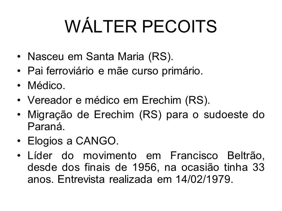 WÁLTER PECOITS Nasceu em Santa Maria (RS).