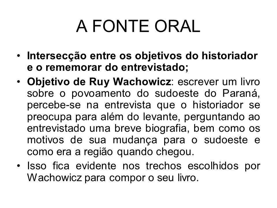 A FONTE ORAL Intersecção entre os objetivos do historiador e o rememorar do entrevistado;