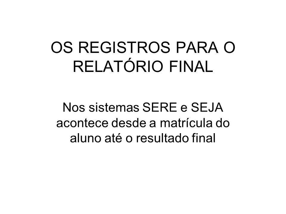 OS REGISTROS PARA O RELATÓRIO FINAL