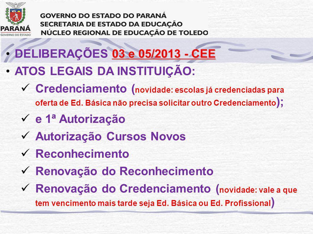 DELIBERAÇÕES 03 e 05/2013 - CEE ATOS LEGAIS DA INSTITUIÇÃO: