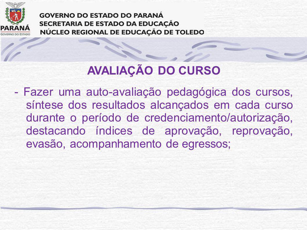 AVALIAÇÃO DO CURSO