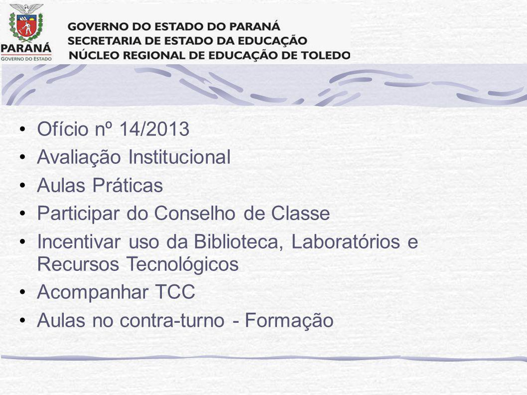 Ofício nº 14/2013 Avaliação Institucional. Aulas Práticas. Participar do Conselho de Classe.