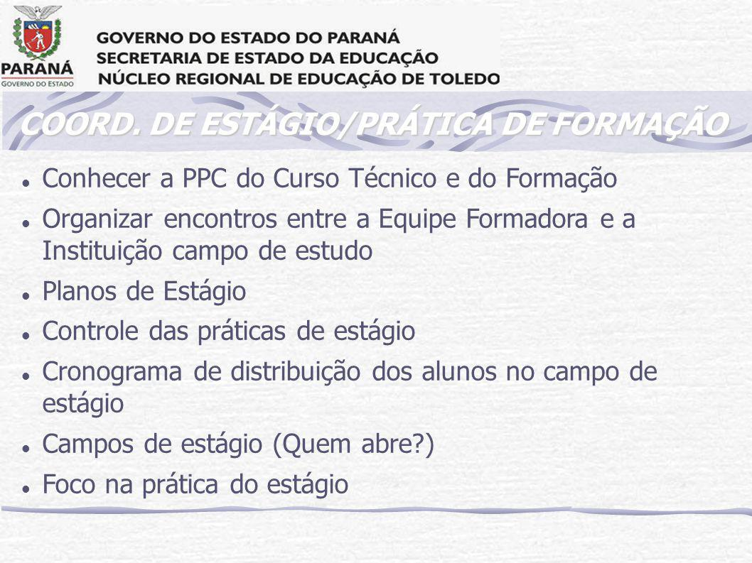 COORD. DE ESTÁGIO/PRÁTICA DE FORMAÇÃO