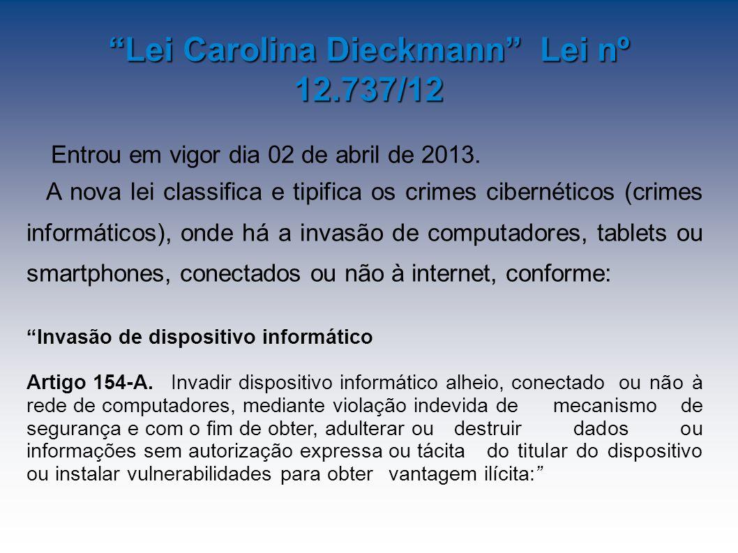 Lei Carolina Dieckmann Lei nº 12.737/12