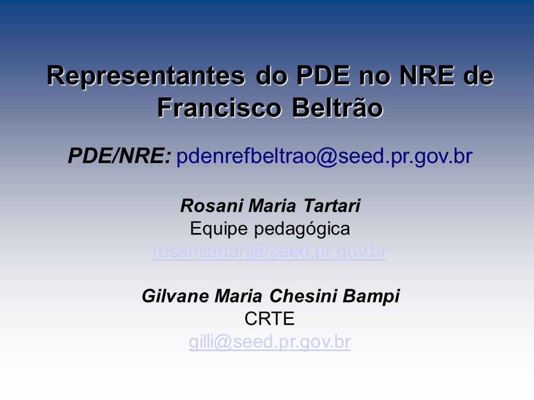 Representantes do PDE no NRE de Francisco Beltrão