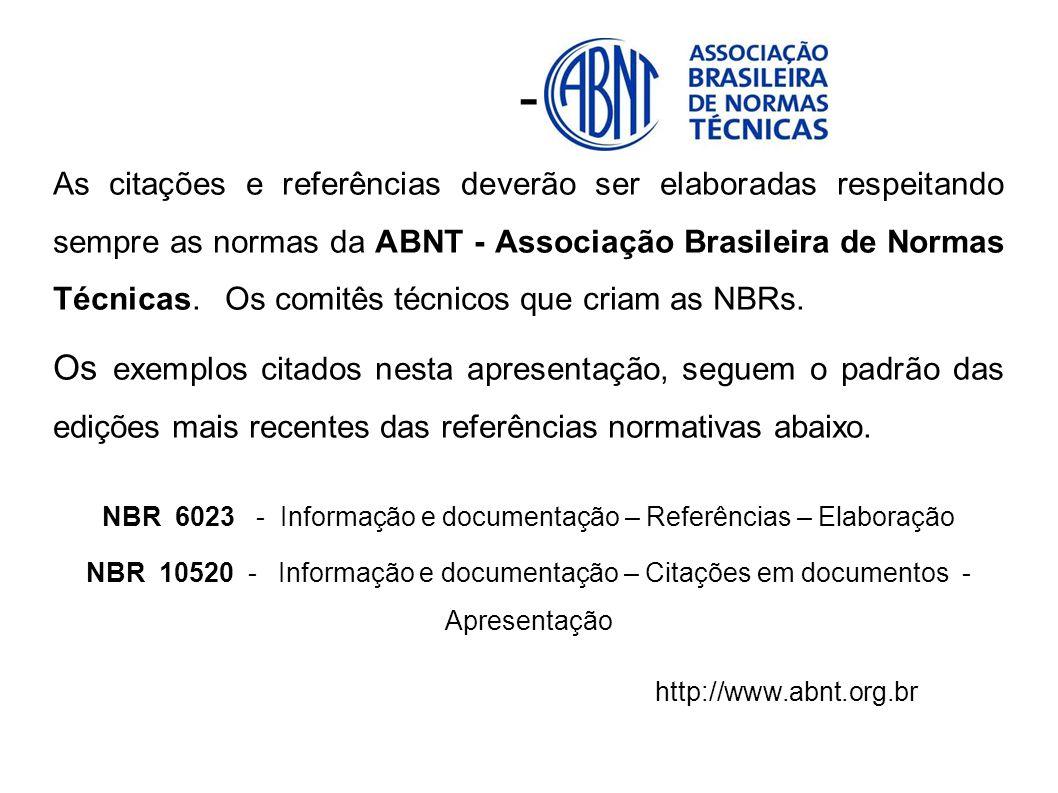 NBR 6023 - Informação e documentação – Referências – Elaboração