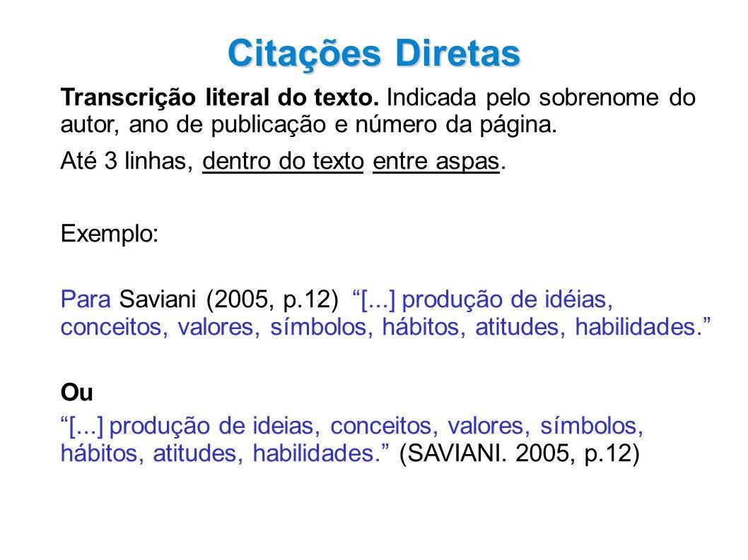 Citações Diretas Transcrição literal do texto. Indicada pelo sobrenome do autor, ano de publicação e número da página.