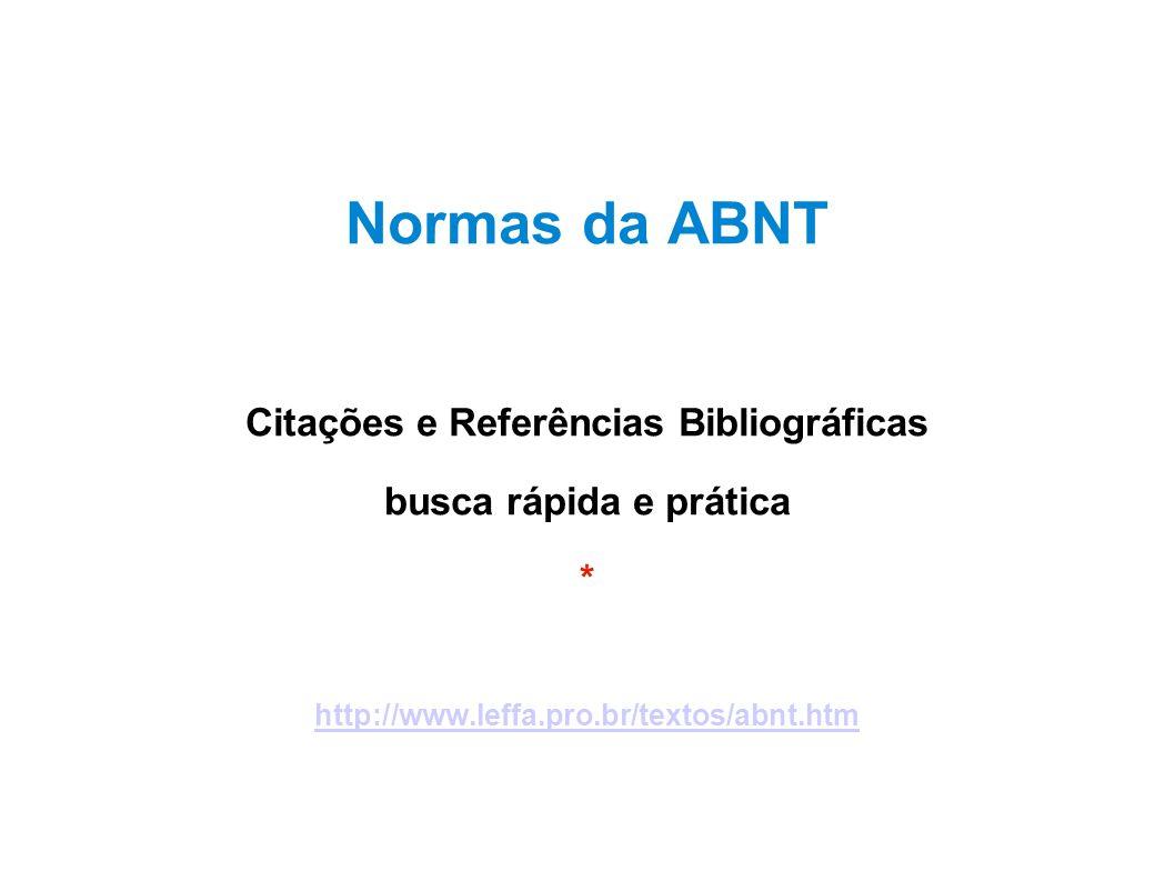 Citações e Referências Bibliográficas