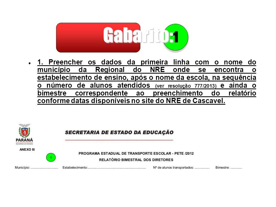 Gabarito: 1.