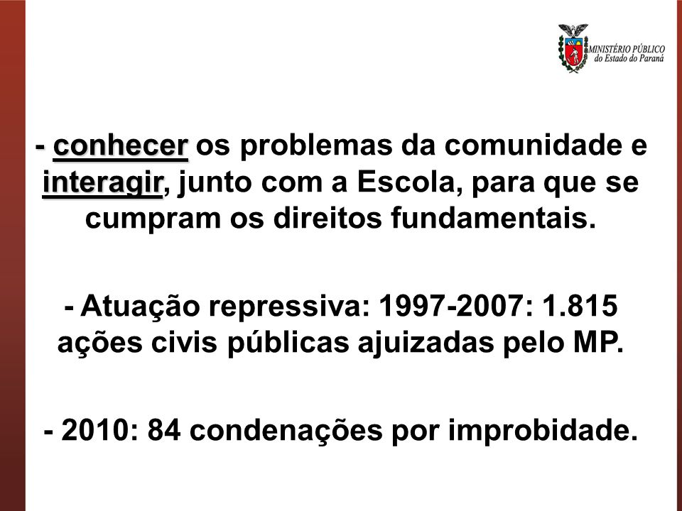 - 2010: 84 condenações por improbidade.