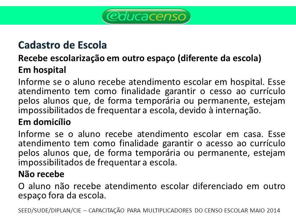 Cadastro de Escola Recebe escolarização em outro espaço (diferente da escola) Em hospital.