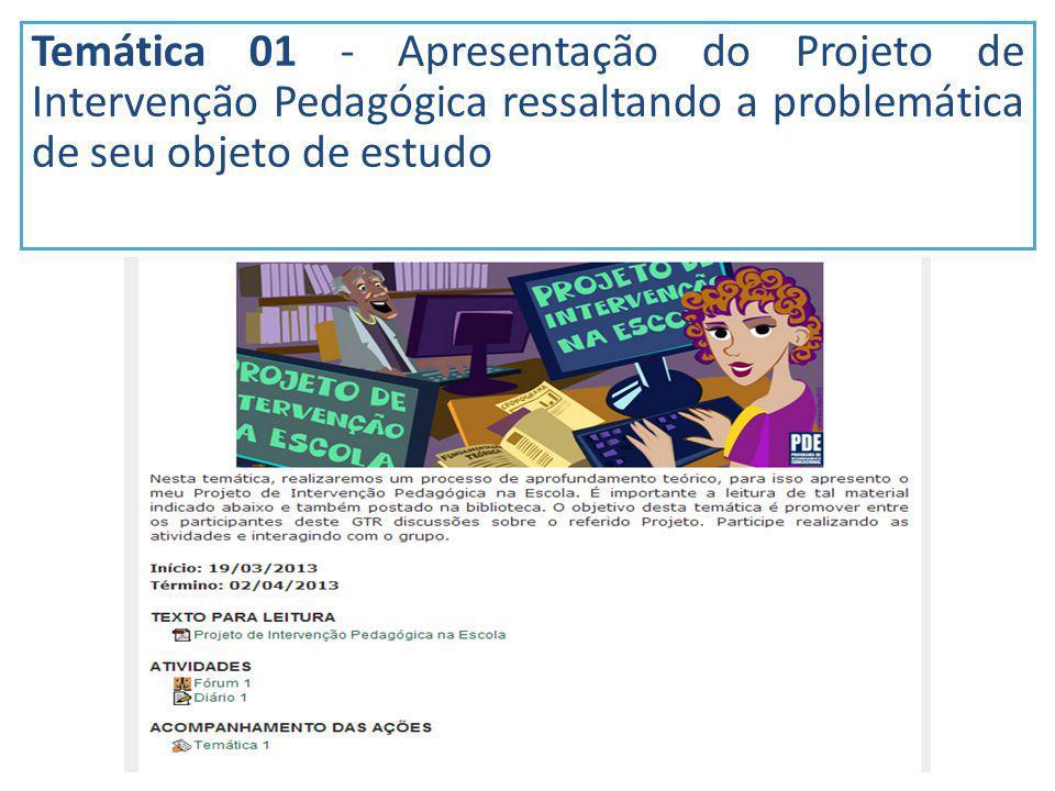 Temática 01 - Apresentação do Projeto de Intervenção Pedagógica ressaltando a problemática de seu objeto de estudo