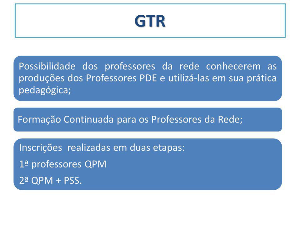 GTR Número de professores da Rede: QPM (57693); PSS (25348) 7