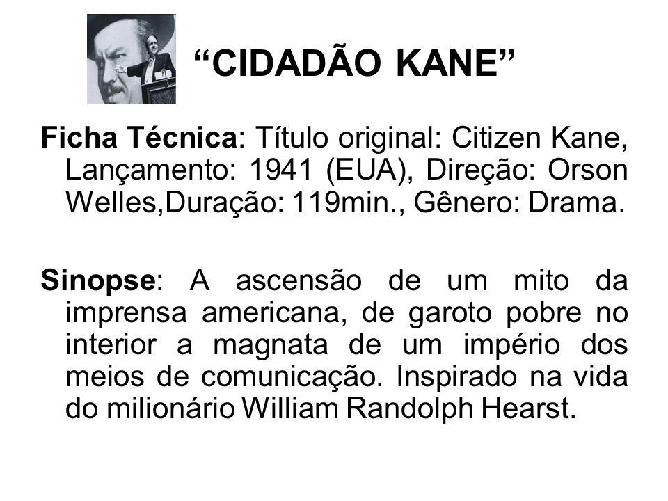 CIDADÃO KANE Ficha Técnica: Título original: Citizen Kane, Lançamento: 1941 (EUA), Direção: Orson Welles,Duração: 119min., Gênero: Drama.