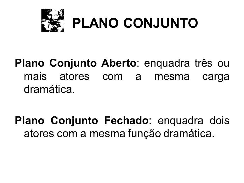 PLANO CONJUNTO Plano Conjunto Aberto: enquadra três ou mais atores com a mesma carga dramática.