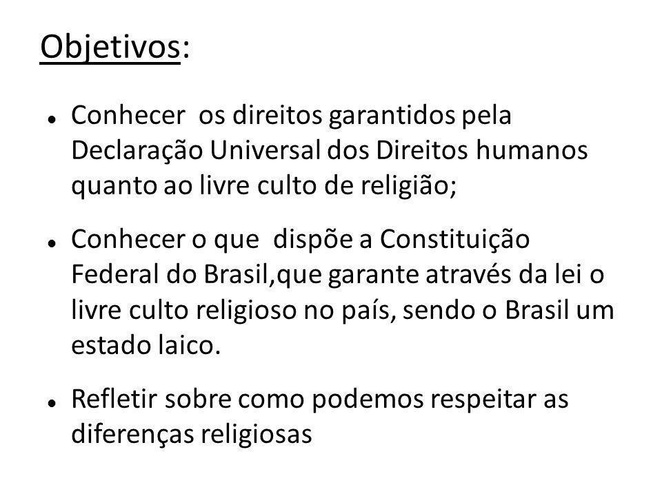 Objetivos: Conhecer os direitos garantidos pela Declaração Universal dos Direitos humanos quanto ao livre culto de religião;