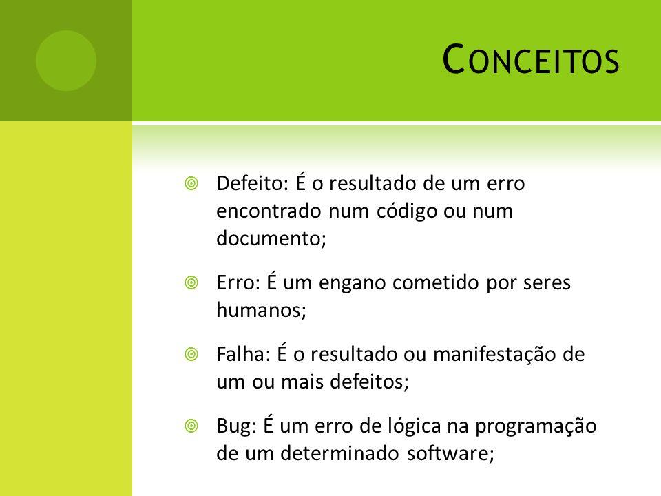 Conceitos Defeito: É o resultado de um erro encontrado num código ou num documento; Erro: É um engano cometido por seres humanos;