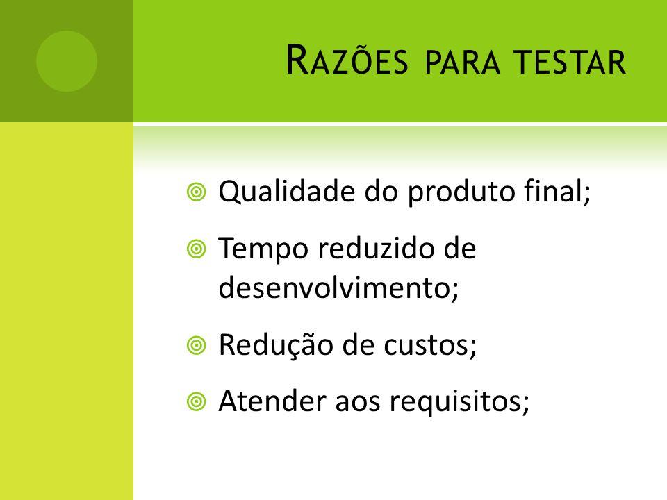 Razões para testar Qualidade do produto final;