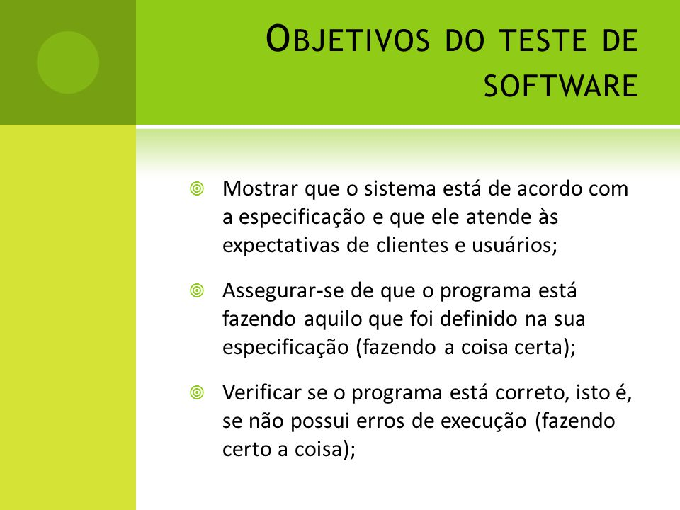 Objetivos do teste de software