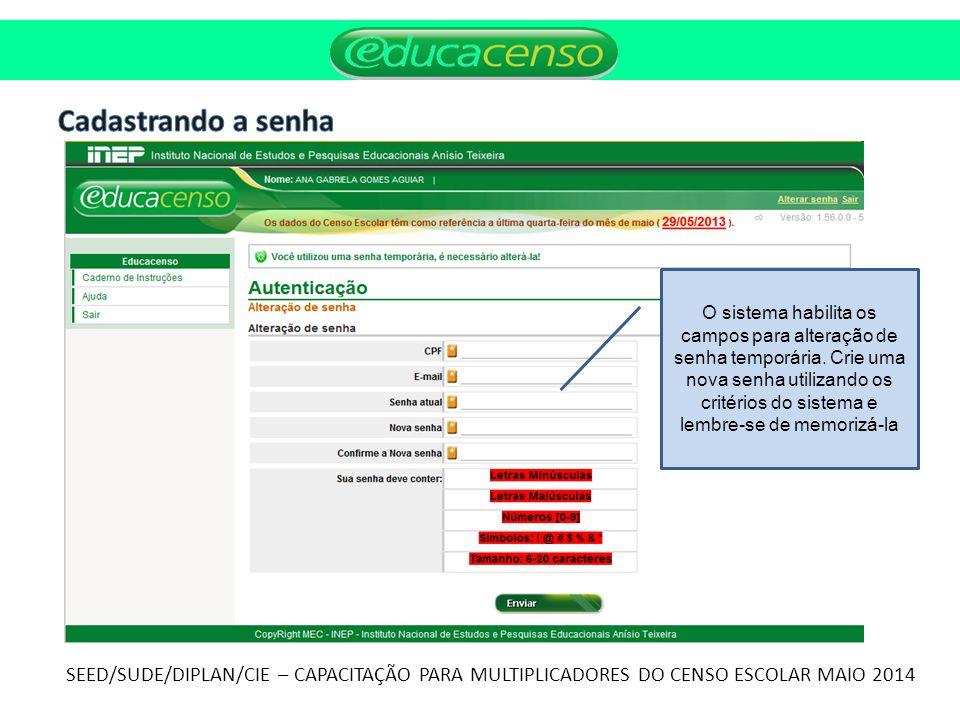 Cadastrando a senha SEED/SUDE/DIPLAN/CIE – CAPACITAÇÃO PARA MULTIPLICADORES DO CENSO ESCOLAR MAIO 2014.